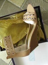 NEW STEVE MADDEN MADDEN GIRL HAYLEYY TAN WEDGE SANDALS WOMENS 8.5 FREE SHIP