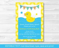 Rubber Duck Printable Birthday Invitation Editable PDF