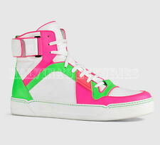 $865 GUCCI MENS SNEAKERS NEON LEATHER HIGH TOP BASKETBALL LOGO 8.5G 9.5 43