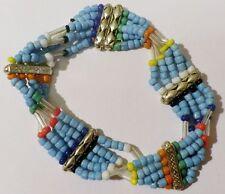 bracelet bijou vintage 70 style indien petite perle bleu turquoise barrette *A13