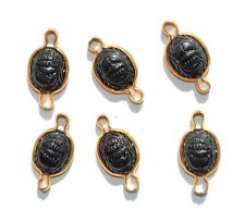 VINTAGE 6 PLASTIC OVAL 2 HOLE CONNECTOR BEADS CHANNEL SET SCARAB SCARABS BLACK