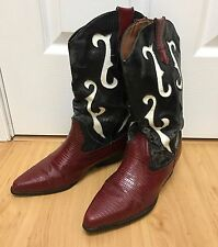 Unisex Wine Red Pattern Leather Vintage Cowboy Boots. Size 9