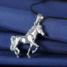 Unisex Stainless Steel Cool Silver Horse Pendant Leather Necklace Jewelry Gift