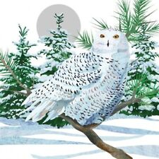 5 decoupage napkins - Snow owl (beverage size)