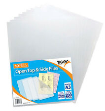 A3 Clear File Covers Open Top + Side Premium Plastic Folder Wallets (PACK OF 10)
