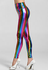 LADIES MULTI COLOURED STRIPE LEGGINGS CLOWN FANCY DRESS WET LOOK SIZE 8 10