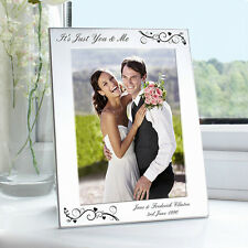 Silver 5x7 Personalised Black Swirl Photo Frame - Wedding/Anniversary Gift