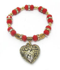 Puffed Heart stretch Bracelet Red Glass Beads  and rondelles