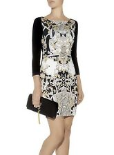 ROBERTO CAVALLI JUST CAVALLI M UK12 US8 IT44 BLACK BAROQUE PRINT COCKTAIL DRESS