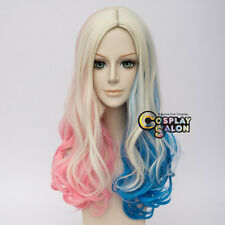 Halloween Curly Blonde Mix Blue Pink For Harley Quinn Anime Cosplay Wig+Cap