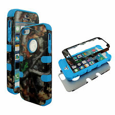Hybrid Bue Camo Trunk V 3 in 1 Apple Iphone 5S  Cover Case Hard & Soft Outer