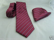 "(16) 100% SILK Burgundy (Interwoven) Necktie and Hankie Set-TIES-3.5""= 9cm Width"