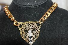 "Wild Life Leopard Head Gold Tone Large Curb Chain,2"" Crystal Necklace 16"""
