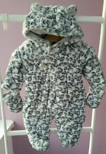 Brand new baby leopard print snow suit soft faux fur NEWBORN months fully lined