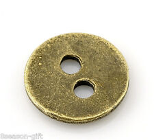 "100PCs Bronze Tone 2 Holes Sewing Metal Buttons 11mm(3/8"") Dia."
