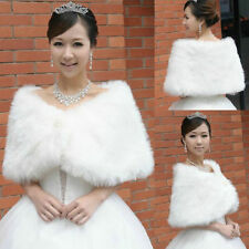 White Trendy Faux Fur Ivory Wedding Bridal Shawl/Wrap Stole Shrug Cape