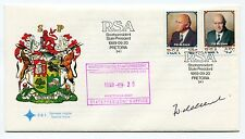 SOUTH AFRICA F W DE KLERK INAUGURATION 1989 FDC - SUPER RARE SIGNED and STAMPED
