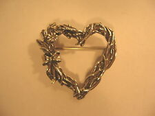 Heart Pin H&H Wreathe Bow & Flowers Hand & Hammer Sterling Silver Brooch