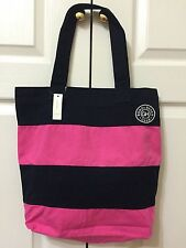 Gilly Hicks Classic Book Tote/Shoulder Bag NAVY AND PINK STRIPE NO SIZE