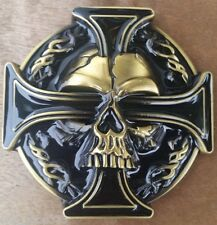 "♈SKULL Black and brass color ♈  3 1/4""x 3 1/4"" Poker Harley Awesome Belt Buckle"