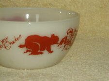"Fire King Ivory Glass Red Davy Crockett Rounded 5"" Cereal Bowl Marked Oven Ware"