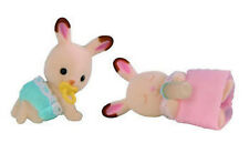 NEW SYLVANIAN FAMILIES 4468 Chocolate Rabbit Twins - set of 2 Babies 4cm + Acces