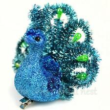 2 Teal Blue Tinsel Glitter & Beads Peacock Christmas Tree Ornaments Decorations