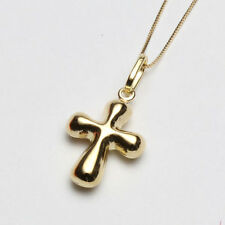 18K Solid Yellow Gold Hollow Cross Pendant 10K Solid Yellow Gold Chain 17.75""