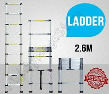NEW 2.6M Alloy Telescopic Aluminium Ladder Alloy Extension Extendable Multipurpo
