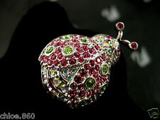 SIGNED SWAROVSKI PAVE' CRYSTAL LADYBUG PIN ~ BROOCH RETIRED NEW WITH TAGS