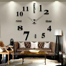 P4PM  Modern Mute DIY Large Wall Clock 3D Sticker Home Office Decor Black Gift
