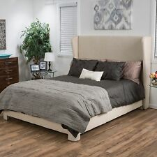 Contemporary Off-White Fabric Wingback Queen Size Bed Set