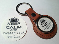 LAND ROVER, 4X4 `KEEP CALM & ENGAGE YOUR DIFF LOCK` LEATHER  KEY RING & STICKER