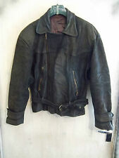 VINTAGE 60'S DISTRESSED HEAVY LEATHER MOTORCYCLE TOURING JACKET SIZE L RIRI ZIPS