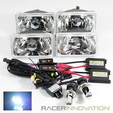 4PC 4X6 H4651/4656/4666 Chrome Crystal Glass Headlights/8000K H4 Bi-Xenon HID