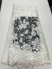 GORGEOUS OFF-WHITE TULLE MESH GUIPURE FLORAL BRIDAL LACE FABRIC 5YDS LOT
