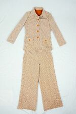 Vintage 60s Pants Suit matched Set L XL Stretch Double Knit Safari Women's