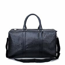 SYKT Classic Black Business Leather Travel Tote Bag Weekend Bag