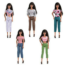 5 Set Top Blouse Trousers Pants Fashion Casual Clothes Outfits For Barbie Gift