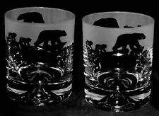 *POLAR BEAR GIFT*  Boxed PAIR GLASS TUMBLERS ~ POLAR BEAR MUM & CUBS Frieze