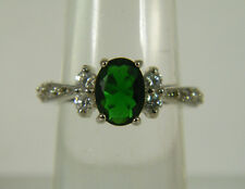 RING:  SIZE 6,  GREEN EMERALD OVAL (9X7MM) SIMULATED WHITE TOPAZ WG OVERLAY