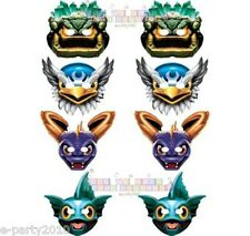 SKYLANDERS GIANTS PAPER MASKS (8) ~ Birthday Party Supplies Spyro Jet Vac Favors