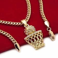 "Basketball Iced-Out Mini Pendant Hip-Hop Chain Gold Tone 30"" Inch Cuban Necklace"