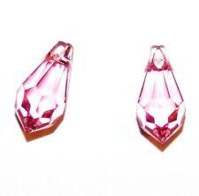 SCN234f ROSE Pink Swarovski Crystal 13mm Faceted Teardrop Briolette Beads 2/pkg