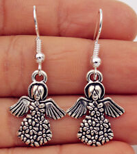 925 Silver Plated Hook -1.5'' Vintage Wings Angel Ladies Cocktail Earrings #01