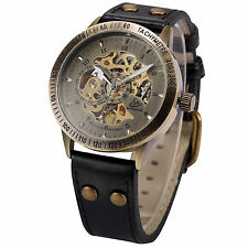 Skeleton Dial Classic Men's Self-winding Mechanical Wrist Watch Bronze Case