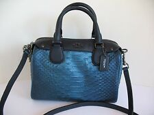 Authentic COACH Metallic Snake Emb Baby Bennett Blue Leather Satchel F36657 NWT