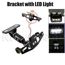Black Motorcycle Adjustable License Number Plate Holder Bracket with LED Light