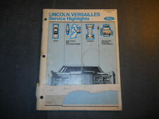 1977 LINCOLN VERSAILLES SERVICE HIGHLIGHTS MANUAL BODY CHASSIS ELECTRICAL A/C