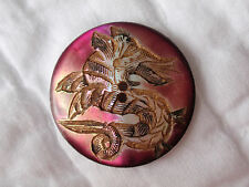 Antique MOP Carved Shell Button DRAGON Red Violet Iridescent